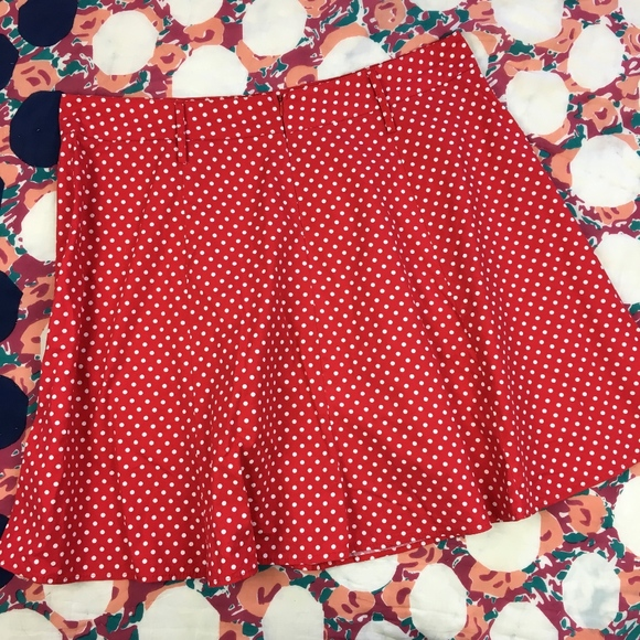 e8ac6dddd37a7 Tropical Wear Mini Skirt Red White Polka Dot Plus